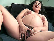 Dildo drilling preggo getting fucked by horny stud